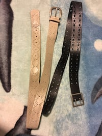 Beige and Black Leather Belts