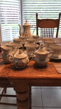25th Anniversary tea pot sugar and cream 9 tea cups and saucers O.B.O having a Tea Party celebrate with this Hamilton, L9A 4Z2