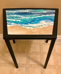 Hand Painted Original Ocean Beach Abstract Side Table Delta, V4E 2Y2
