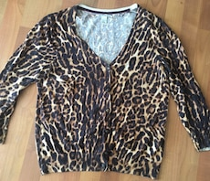 brown and black leopard cardigan