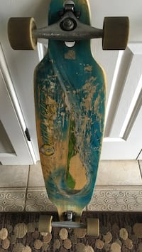 Blue and brown long board