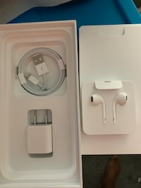 Apple charger and headphones
