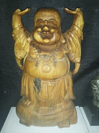 "16"" Wood Carved Happy Buddha Marion, 52302"