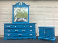 Solid Wood 9 Drawer Long Dresser With Mirror And Nightstand Blue With Silver Handles  Woodbridge, 22192