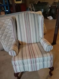 white and brown striped fabric sofa chair Mount Bethel, 18343