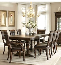 rectangular brown wooden table with six chairs dining set 302 mi