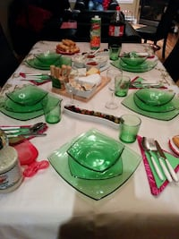 green glass dinnerware set
