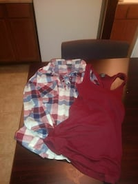 red-blue-and-white plaid button-up long-sleeved shirt and red tank top