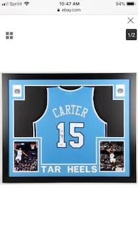 Vince Carter Autographed College Jersey Framed Coa by Beckett  Weymouth, 02190