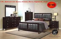 brown wooden bed frame with text overlay 912 mi