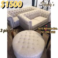 white and gray tufted sofa Norfolk, 23518