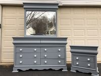 Large 8 Drawer Solid Wood Long Dresser With Mirror and Nightstand Gray With White Handles  Manassas, 20112