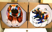 multicolored dog and panda paintings