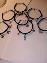 Handcrafted Leather Bracelets w/Sterling Charms Philadelphia, 39350