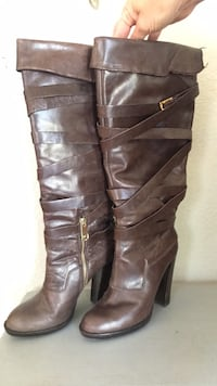 pair of brown leather knee-high boots Turlock, 95380