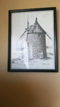 Ink etching of lighthouse by Richard Montréal, H8T 1Y4