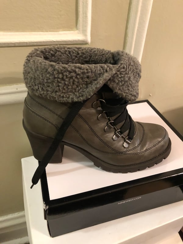 Gray fur lined ankle boots. Brand new never worn size 8 1/2 83ec03f0-e0b0-4995-b031-e8624bbdc7f0