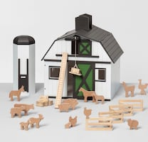 Toy Barn with Animal Figurines