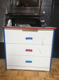 white and blue wooden 4-drawer chest Toronto, M1V 4Y5