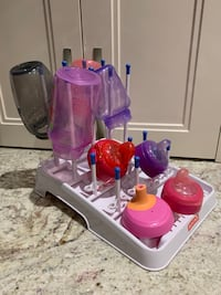 Sippy bottles and drying rack