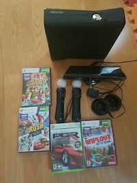 black Xbox 360 with two game controllers and four game cases Vancouver, V5M 2B7
