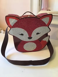 SUPER CUTE HARD FOX CASE WITH RHINESTONES, OPEN TO A LITTLE MIRROR Mont-Royal