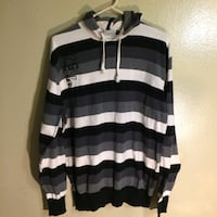 black and white striped pullover hoodie 365 km