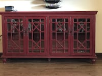 Red wooden framed glass cabinet Burleson, 76028