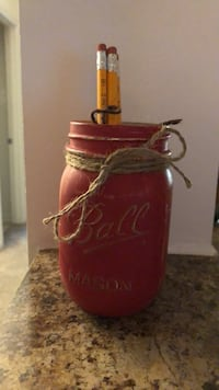 Red Mason jar distressed with  pencils Orchard Hills, 21742