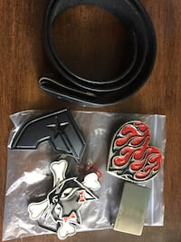 black and red leather belt New York, 10029