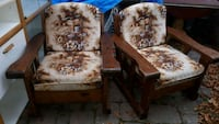brown and white floral fabric sofa chair Bowmanville, L1C 1J5