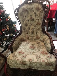 Brown wooden framed white floral padded armchair Placentia, 92870