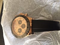 Rose gold chronographic watch with black rubber strap Lawrenceville, 30043