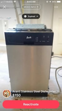 Stainless dishwasher Avanti 18 inches New York, 11427