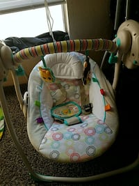baby's white and green swing chair Tulsa, 74116