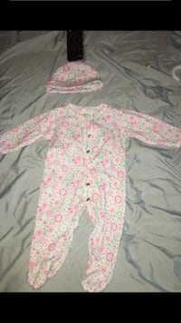 Baby's pink and white floral footie pajama