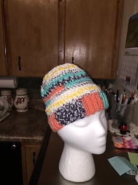white black orange and green knitted hat Fritch, 79036