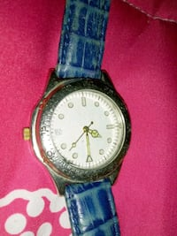 round silver-colored analog watch with blue leather strap Amarillo, 79103