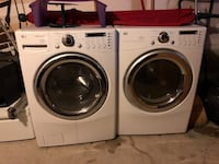 white LG front load washer and dryer set Milton, L9E