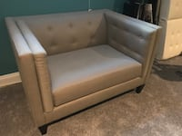 brown wooden framed white leather padded sofa Alexandria, 22301
