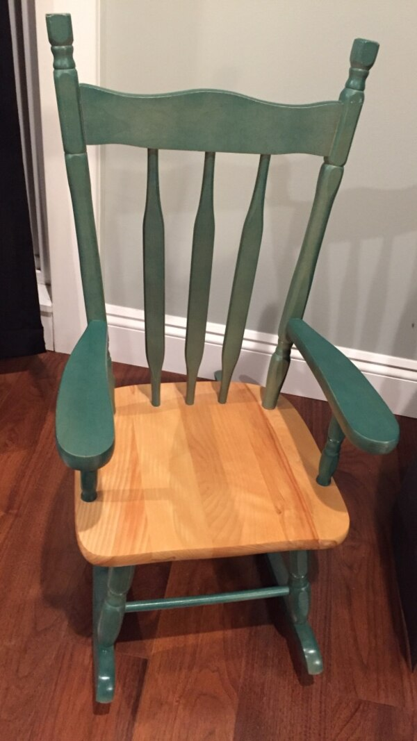 Brown & green  wooden kid size rocking chair