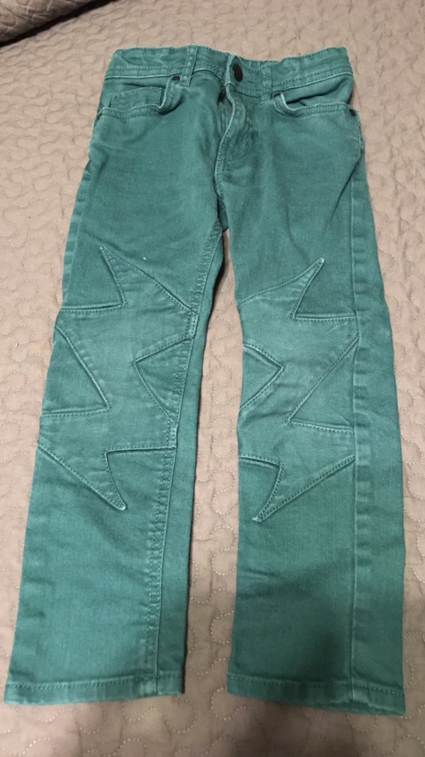 Boys lightening bolt teal denim size 5-6