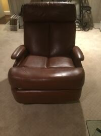 Nice light brown recliner chair, leatherette . Manhasset