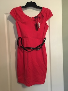 Bright coral red dress with belt - small