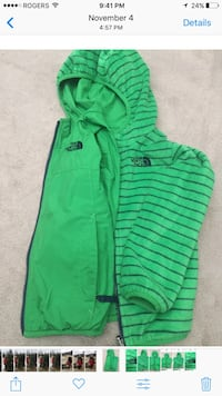 green and black the North Face zip-up hoodie screenshot