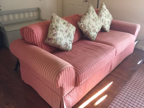 Used red and white fabric sofa for sale - letgo