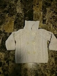 toddler's grey button-up sweater