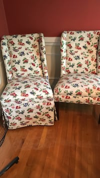 two white-red-green floral wing chairs Mount Airy