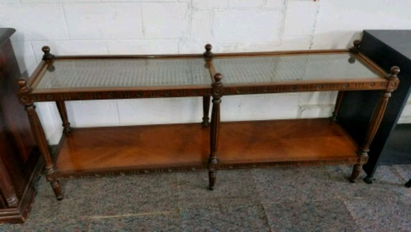 Magnificent Sofa Entry Table With Cane Top And 2 Glass Inserts Spiritservingveterans Wood Chair Design Ideas Spiritservingveteransorg