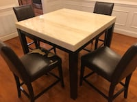 Square brown wooden table with four chairs dining set Chantilly, 20152